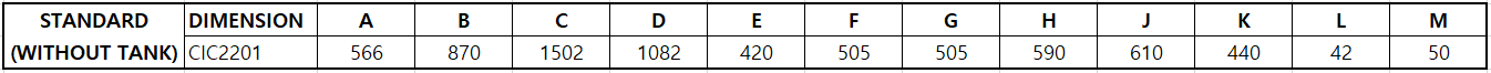 chiller CIC 2201 dimensions chart